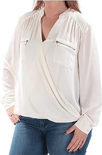 ALFANI Womens White Zippered Cuffed V Neck Faux Wrap Top AU Size:18