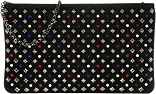 Christian Louboutin Loubiposh NV $1280 Authentic Clutch Veau Velours Spikes New