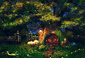 CSFOTO Magic Forest Backdrop 7x5ft Fantasy Tree House Glowworm Enchanted Mushroom Night Fairy Birthday Party Background for Photography Children Kids Photo Polyester Wallpaper
