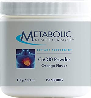 Metabolic Maintenance CoQ10 Powder - 100 Milligrams Optimal Absorption, Energy + Cardiovascular Support, Orange Flavor (100 Grams, 150 Servings)