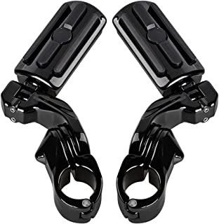 Motorcycle Short Adjustable Foot Pegs Mounts Clamps Kit 1 1/4
