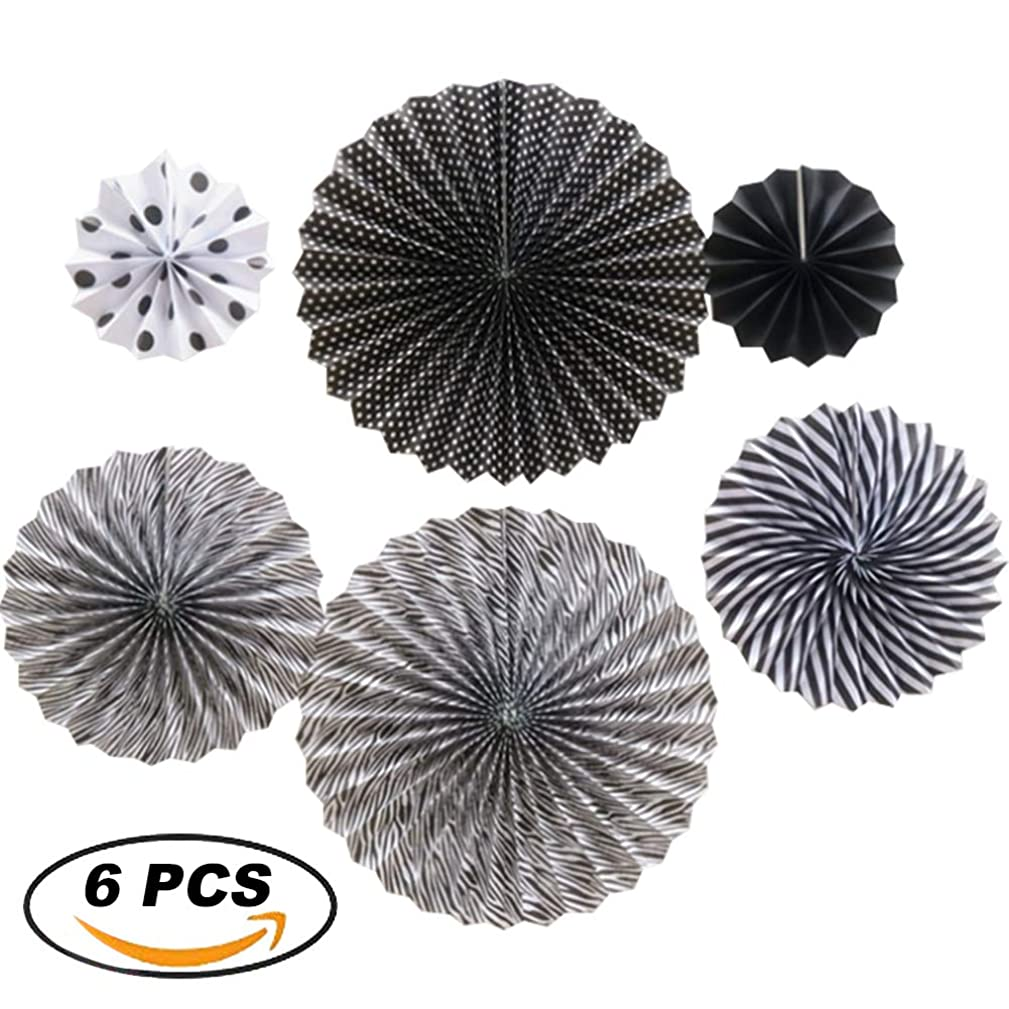 XYHOO Party Hanging Paper Fans Set, 6 pcs Black Round Pattern Paper Garlands Decoration for Birthday Wedding Graduation Events Accessories.