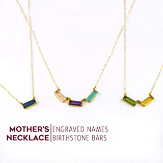 Personalized Mother's Necklace with Engraved Kid's Names and Birthdays, Modern Geometric Gemstone Bar Necklace [AB]