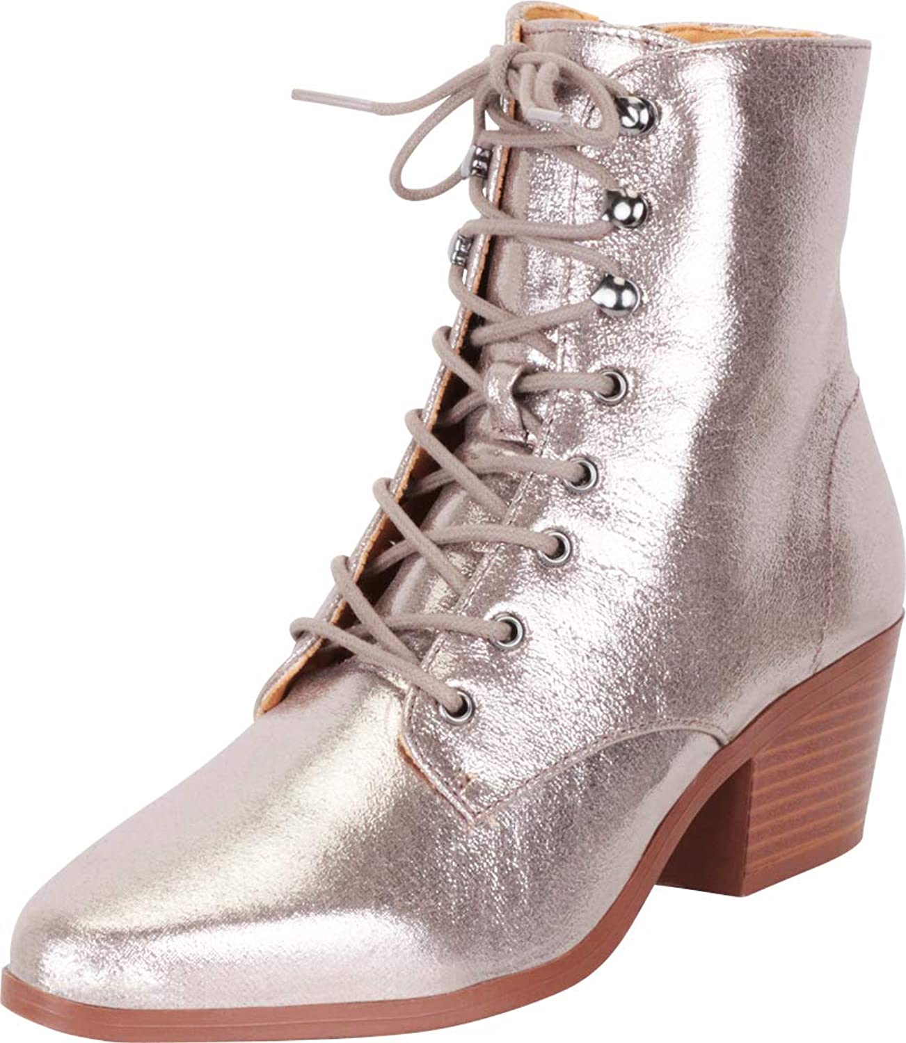 Cambridge Select Women's Pointed Toe Victorian Steampunk Lace-Up Block Heel Ankle Bootie