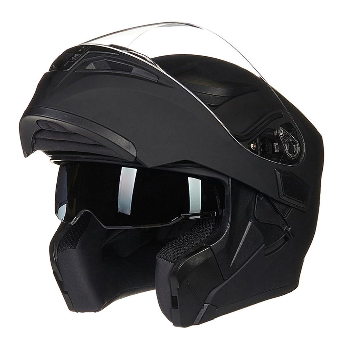 とげのある回転するステップX.N.S(希望)MOTO WOLF新色出荷多色可選 バイク ヘルメット フルフェイス ジェット ダブルシールド システム ヘルメット (L, ブラック(艶消し))