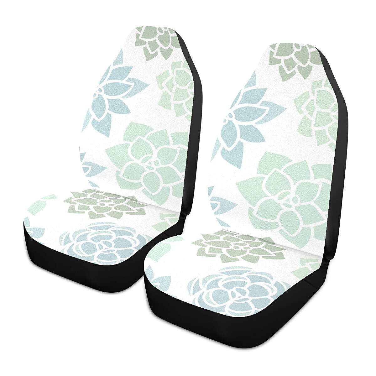 ALAZA latest Cactus Cacti Genuine Succulent Flower Seat Seats Covers Front Car