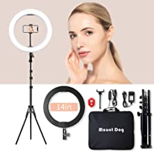 MountDog LED Ring Light 14 inch Dimmable Selfie Ring with Tripod Stand, Flexible Phone Holder, Bluebooth Remote Control and Carry Bag for Live Stream Makeup Portrait YouTube Video Shooting TikTok