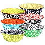 E-Gtong Ceramic Cereal Bowl 27 FL OZ Hand-Painted Colorful Porcelain Ceramic Bowls Set of 6 for Soup, Pasta, Salad and Rice, Microwave & Dishwasher Safe