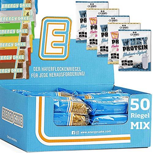 Energy Cake MIX BOX 50 x 125g Energieriegel – mit Haferflocken, Protein, Kohlenhydrate, Ballaststoffe – ideal für Sport & Fitness + 5 x C.P. Sports Whey Protein 25g Portionsbeutel MIX gratis