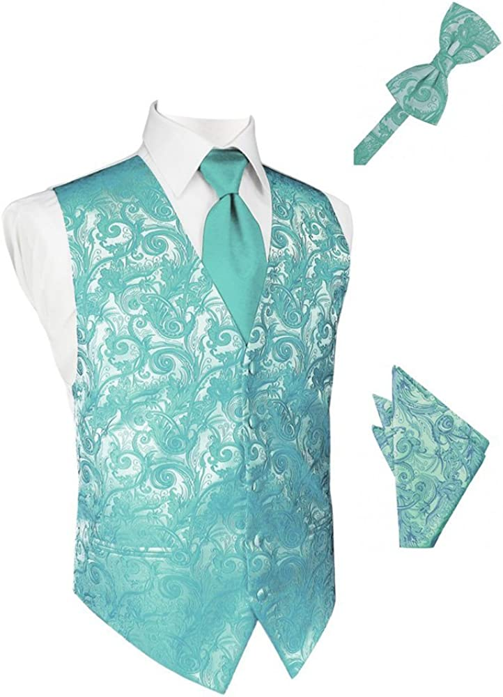 Mermaid Tapestry Satin Tuxedo Vest with Long Tie Bowtie and Pocket Square Set