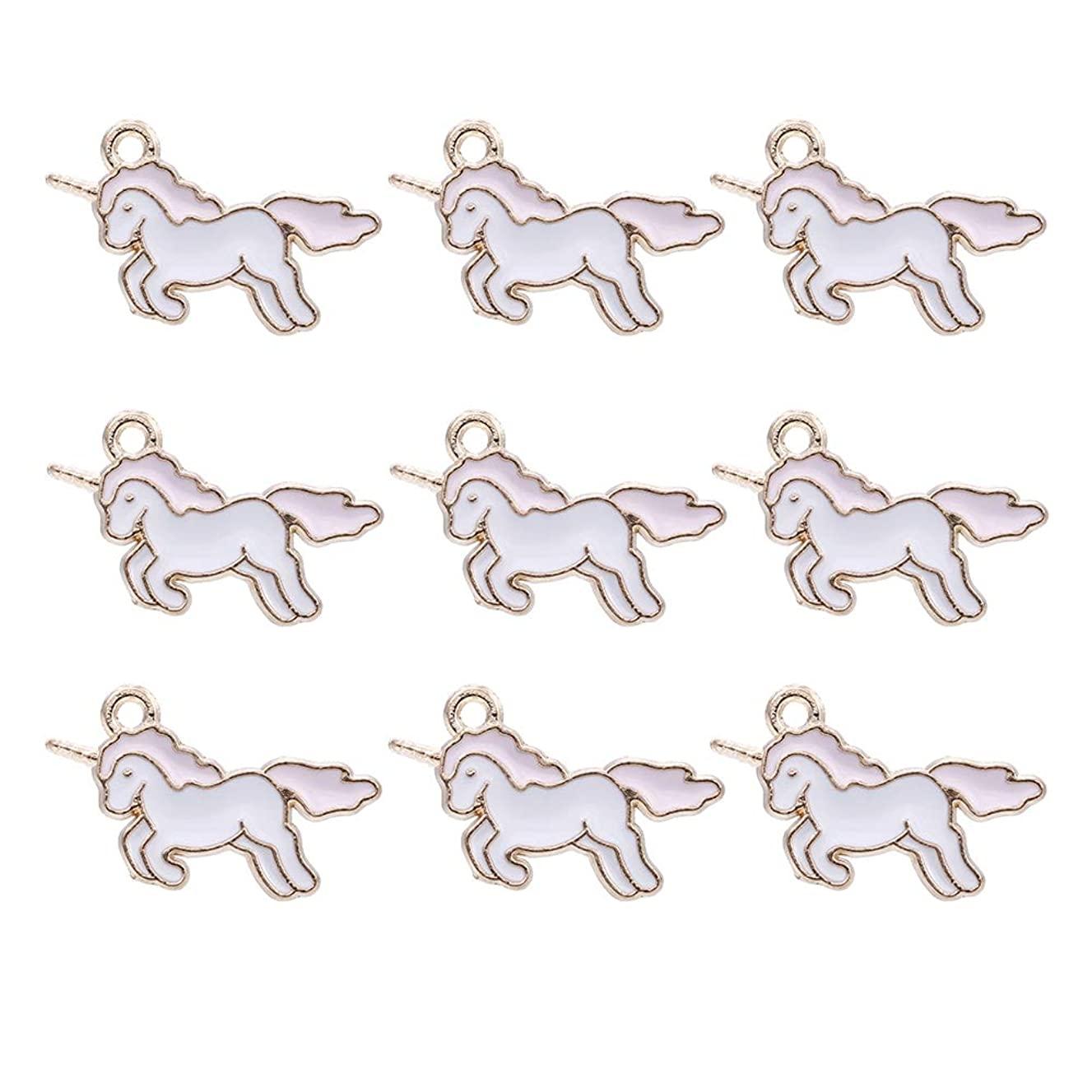 50pcs Gold Plated Cute Mini Charms Enamel Unicorn Pendants for DIY Jewelry Making Necklace Bracelet Earring Jewelry Findings Hypoallergenic Alloy (Unicorn-Pink)