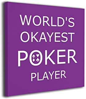 SISHANQE World's Okayest Poker Player Paintings On Canvas Wall Artworks Giclee Wood Inner Framed for Living Room Bedroom 16x16Inch