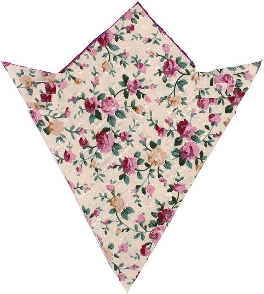 Cream Floral Skinny Ties Pocket Squares Bow Ties | Cotton Neckties | Ties Bow Ties Handkerchief for Men