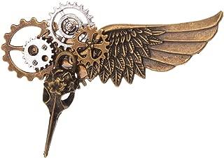 Steampunk Plague Bird Wings Gears Brooch