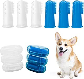 HORSKY Pet Finger Toothbrush, Cat Dog Dental Hygiene Brush Suitable for Most Pet 6 Pack Blue and Clear