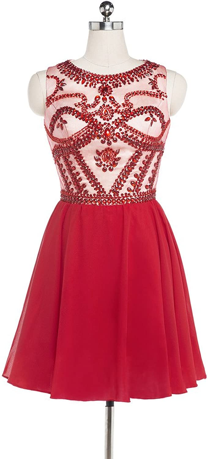 Charmingbridal Scoop A Line Beaded Homecoming Dress Red Prom Dress Short
