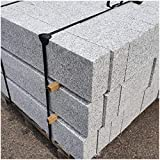 AUPROTEC Granit Bordstein Naturstein massiv 10 x 20 x 100 cm Leistenstein grau DIN EN 1343