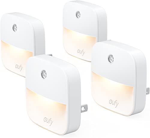 lowest eufy by Anker, Lumi Plug-in Night Light, Warm White LED, Dusk-to-Dawn Sensor, Bedroom, high quality Bathroom, discount Kitchen, Hallway, Stairs, Energy Efficient, Compact, Light 4-Pack online