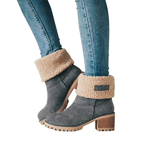 b0de8fa29 DOTACOKO Women Cute Warm Short Boots Suede Chunky Mid Heel Round Toe Winter  Snow Ankle Booties