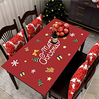 Waterproof Tablecloth Christmas Pattern Household New Year Tablecloth PVC Anti-Oil And Anti-Scalding Mat Cafe Kitchen Gard...