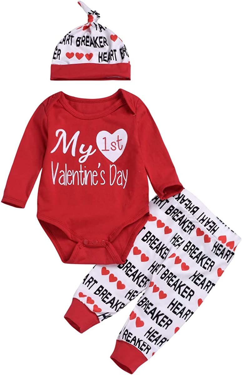 citgeett 3PCS Newborn Baby Boy Girl My 1st Valentine's Day Outfit Clothes Infant Romper + Letter Pants Hat Set