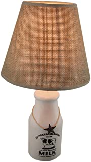 Ephrata Creamery Old Style Milk Bottle Lamp with Burlap Shade