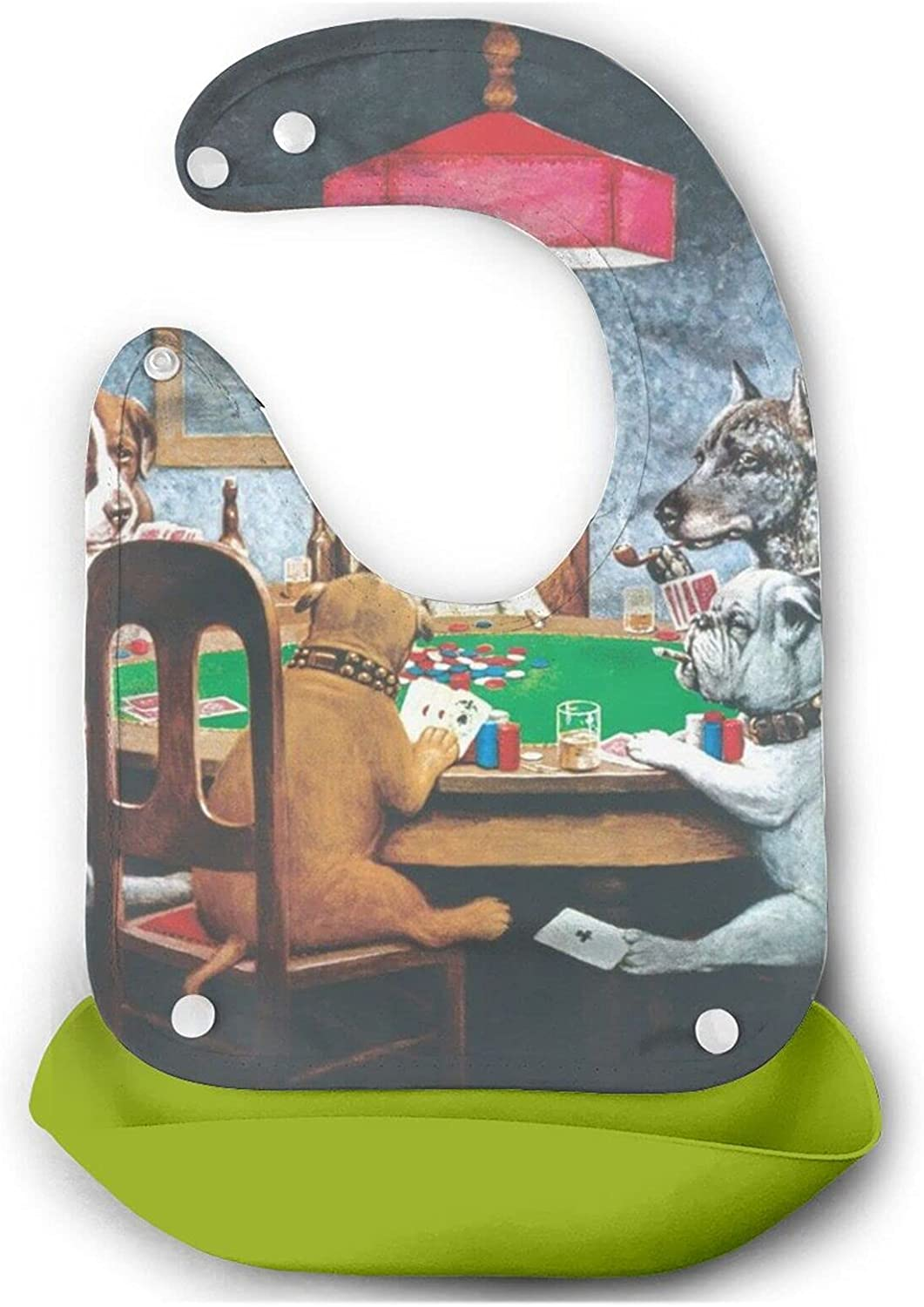 2021 autumn and winter new Dogs Playing Poker Baby Bib For Year-end annual account To Toddlers Babies Mouth Cute