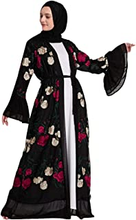 2019 New! Muslim Women Dress,Fashion Flower Embroidery Open Cardigan Islamic Arab Abaya Kaftan Kimono Maxi Dresses