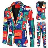 Yowablo Anzug Männer Weihnachten Verschiedene Drucke Weihnachtskostüm enthalten Jacke Hosen Weste...