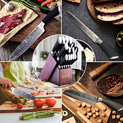 Knife Set with Block With Build-in Sharper, Kitchen Knife Set (Professional Knife Sets Self Sharping Germany Stainless Steel with Wooden Knifves Block).Perfect Wedding Gifts