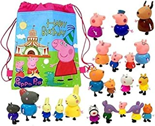 AM ANNA 25PCS Cartoon Peppa Pig Friends Toys Soft Head for Kids Gift With Bag