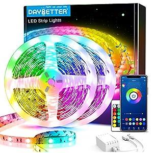 60ft Daybetter Smart Led Lights,5050 RGB Led Strip Lights Kits with Remote, App Control Timer Schedule Led Music Strip Lights(2 Rolls of 30ft)