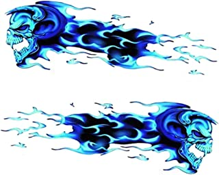 AMOUTOR Flame Skull Sticker, Scary Car Motorcycle Style Decals Fits for Halloween Auto Decor 11x6.6inch(Blue)