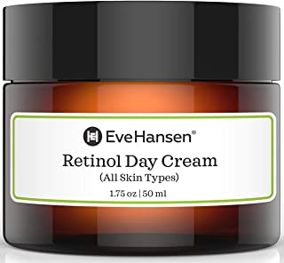 Eve Hansen Retinol Cream Anti Aging Moisturizer for Face and Neck with Vitamins A, C, E, and Organic Extracts (Camellia, Cucumber, Apple)   For Wrinkles, Fine Lines, Dark Spots Day and Night 1.75 oz