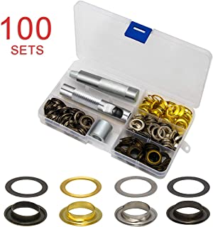 1/2 Inch Grommet Kit 100 Sets, Luxiv Grommets Eyelets 12mm Sewing Eyelets Gold, Silver, Black Metal Grommet Kits 4 Colors with Tools and Storage Box