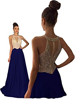 Women's Crystal Beaded Prom Dresses 2019 Long Evening Gowns Formal