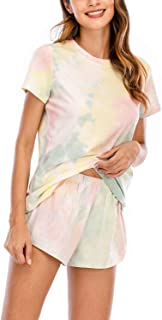 SEVEGO Women's Tie Dye Pajama Set 100% Cotton Short Lounge Set Sleepwear Night Shirt with Shorts