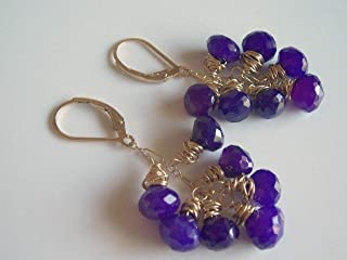 Purple Chalcedony and Gold Wire Wrapped Cluster Chandelier Earrings