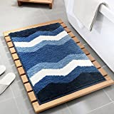 Alfombra de baño, poliéster absorbente antideslizante, alfombrilla de baño antideslizante, alfombra de ducha suave, que proporciona comodidad y seguridad, suave y esponjosa, 45 x 65 cm - onda azul