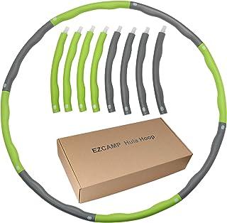フラフープ ダイエット EZCAMP組み立て式8本 大人用 子供用 ウエスト くびれ 有酸素運動 直径95cm サイズ調整可