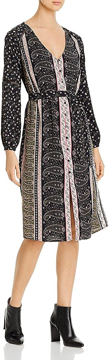 cupcakes and cashmere Women's Nollie Printed Long Sleeve Dress with Elastic Waist