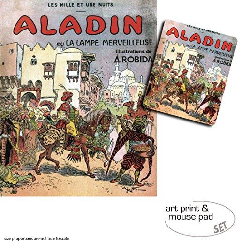 1art1 Albert Robida, Aladino Y La Lampara Maravillosa, 1001 Noches 1 Póster Impresión Artística (50x40 cm) + 1 Alfombrilla para Ratón (23x19 cm) Set Regalo