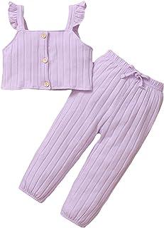 puseky Ropa de verano para niña pequeña, tela de algodón, sin mangas, correa de cultivos