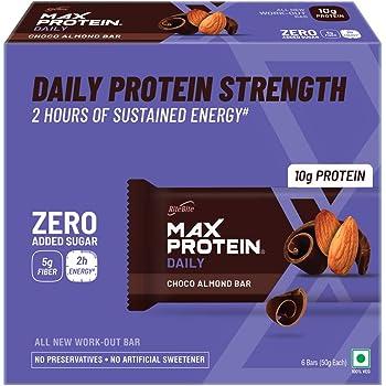 Ritebite Max Protein Daily Choco Almond Bars 300g - Pack of 6 (50g x 6)