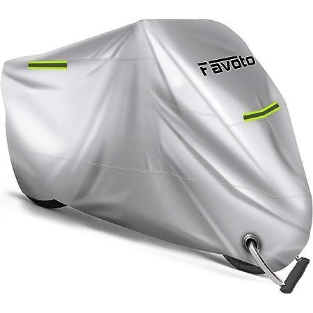 Favoto Housse de Protection pour Moto Imperméable en Oxford 210D avec Coutures Thermosoudées, Bâche Extérieure à l'épreuve de Poussière/ Neige/ Pluie du Vent des Soleil, 265x105x125cm XXXL Argent