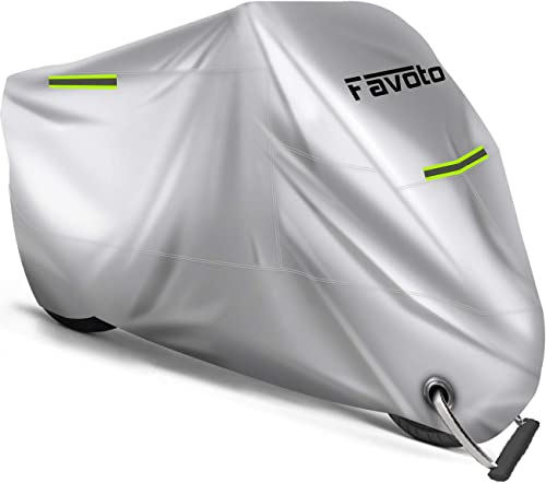 Favoto Housse de Protection pour Moto Imperméable en Oxford 210D avec Coutures Thermosoudées, Bâche Extérieure à l'ép...