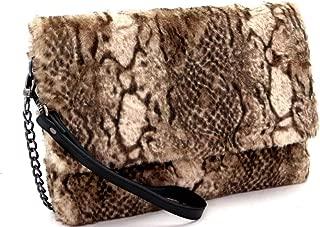 Snake Print Smooth Faux Fur Large Oversize Flap Clutch Shoulder Bag Crossbody