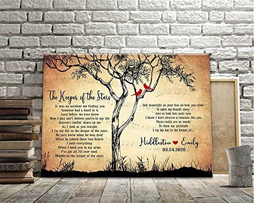 DKISEE Lienzo personalizado con letra de canciones, lienzo con letra de canción de amor, lienzo de regalo de boda, boda, lienzo de arte de pared, regalo para parejas
