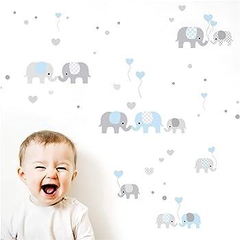 Little Deco Wandtattoo Kinderzimmer Junge Elefanten Grau Blau I Zwei A4 Bogen I Wandaufkleber Deko Aufkleber Babyzimmer Wandsticker Jungs Sticker Dl340 Amazon De Kuche Haushalt