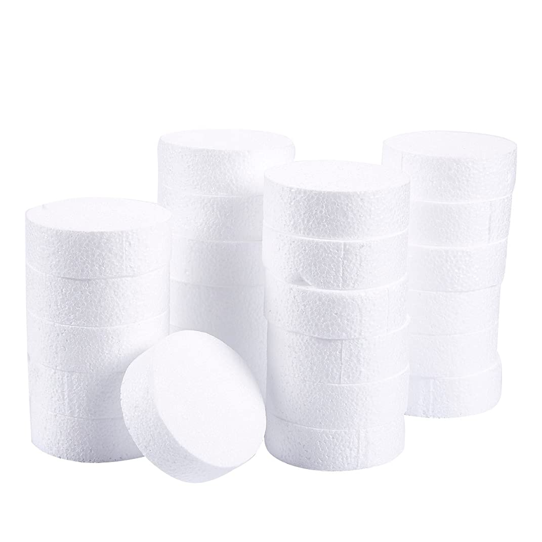 Craft Foam Circle - 24-Pack Polystyrene Foam Disc Foam Round for Sculpture, Modeling, DIY Arts and Crafts - White, 3 x 3 x 1 Inches